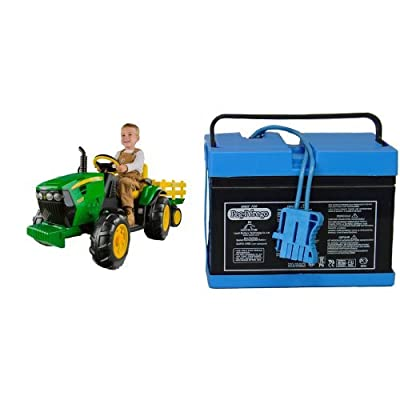 Peg Perego John Deere Ground Force Tractor with Trailer with 12 Volt Battery Bundle: Toys & Games