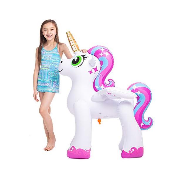 JOYIN Inflatable Unicorn Yard Sprinkler, Alicorn/ Pegasus Lawn Sprinkler for Kids 4