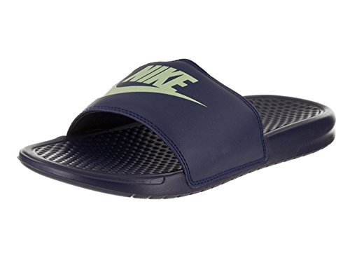 Nike Men's Benassi Just Do It Athletic Sandal, Blu/Verde Binary (Blue/Fresh Mint), 41 D(M) EU/7 D(M) UK