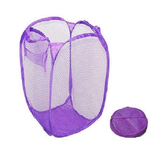 J&T Foldable Laundry Basket Hamper Washing Clothes Bag Storage Bin Pop Up Mesh Large (Purple)