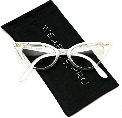 Vintage Cateyes 80s Inspired Fashion Clear Lens Cat Eye Glasses with Rhinestones (Gradient White Frame, - Glasses Eye Frame Cat