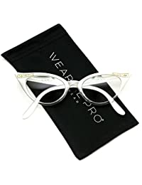 Vintage Cateyes 80s Inspired Fashion Clear Lens Cat Eye...