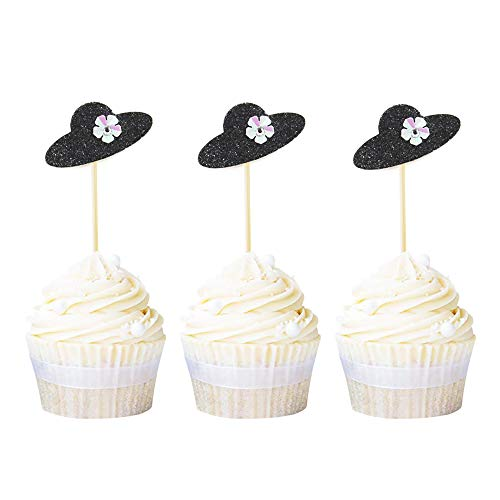 Newqueen 20 Pack Lady Hat Cupcake Toppers Black Glitter Pearl Cupcake Picks Decorations for Bachelorette Birthday Party Supplies