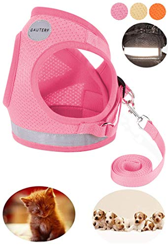 GAUTERF Pet Harnesses,Cat, Dog, Harnesses Leashes Pulling, Kitten Puppy Small Pet Adjustable Soft Net Reflective Pet Harness Leash Set (Small, Pink) from GAUTERF