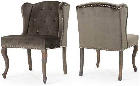 Christopher Knight Home Niclas Velvet Chairs, 2-Pcs Set, Grey
