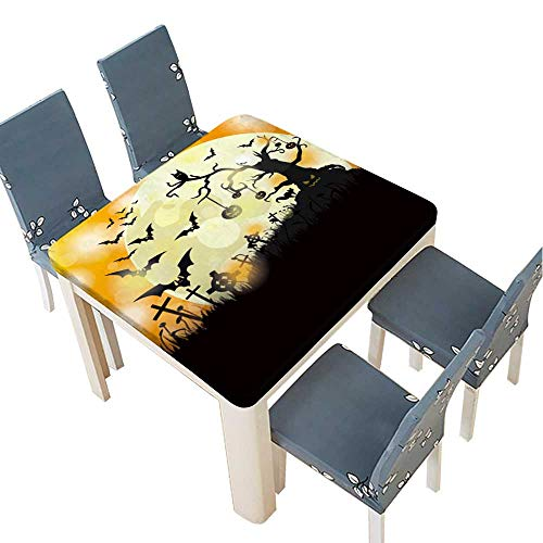 PINAFORE Tablecloth Waterproof Polyester Table Halloween Flyer Design with Big Moon Eps Vector File. Tablecloth for Wedding/Party 33.5 x 33.5 INCH (Elastic -