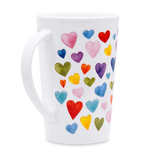 Cute Mugs Colorful Heart Shaped Coffee Mug, 400ml Fine Bone China Heart Mugs Perfect Birthday Gifts Christmas Mugs for Women Mom Friends Coworker Boss (Shaped Mugs Novelty)