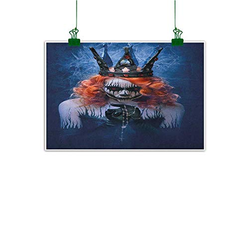 Gabriesl Art-Canvas Prints Queen Queen of Death Scary Body Art Halloween Evil Face Bizarre Make Up Zombie Navy Blue Orange Black Bedroom Bedside Wall W24 x H16 ()
