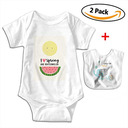 POOPEDD Love Spring And Watermelon Unisex Baby Short Sleeve Onesies Toddler Bodysuit Baby Onesie Infant Bibs by POOPEDD