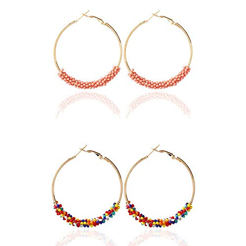 2 pairs/set Ethnic Colorful Round Beaded Hoop Earrings Rainbow Dangle for Women Girls Bohemia Boho Statement Handmade Summer Jewelry-Rainbow and pink