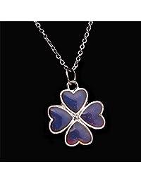 MonkeyJack Unisex Sensitive Crystal Mood Color Change Four-Leaf Pendant Necklace