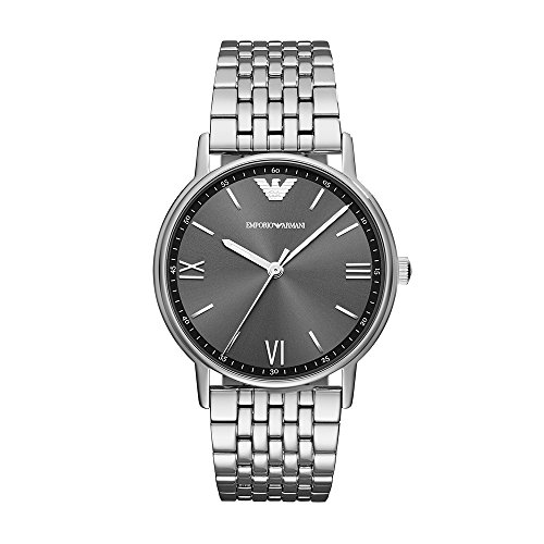 (Emporio Armani Men's Dress Watch Quartz Stainless-Steel Strap, Silver, 21 (Model: AR11068)