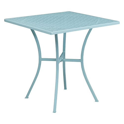 Lovely 28'' Square Indoor/Outdoor Steel Patio Table with Rain Flower Printed Top, Designed for Any Kind of Weather, Great for Both Indoor and Outdoor Settings, Blue + Expert Home Guide by Love US by LOVE US