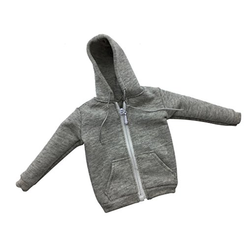 MonkeyJack 1/6 Scale Gray Zipped Hoodie Sweater Clothes Accessory For 12'' Male Figure 1 6th Scale Figures
