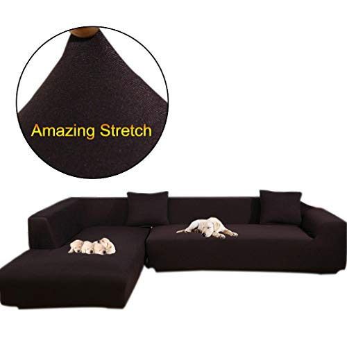 (Taiyucover Anti-skid Dustproof Sofa Slipcovers ;Armchair/2-Seater/3-Seater sofa covers; Sectional Corner L-Shaped Sofa Protector (Coffee, L-Shape(Large 3-Seater sofa + Large 3-Seater sofa)))