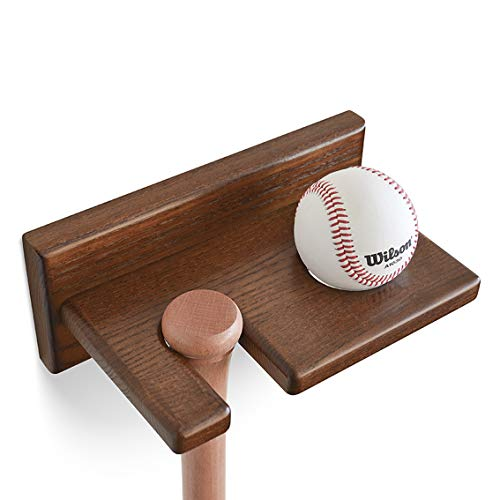 Ball Bat Baseball Holder - Teslyar Baseball Bat Rack and Ball Holder Ash Tree Vertical Wood Eco-Friendly Display Natural Finish Wall Mount Hanger