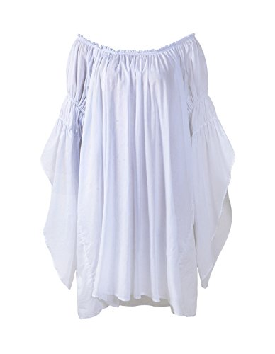 (ReminisceBoutique Renaissance Medieval Peasant Dress up Pirate Faire Celtic Blouse (Small, White))