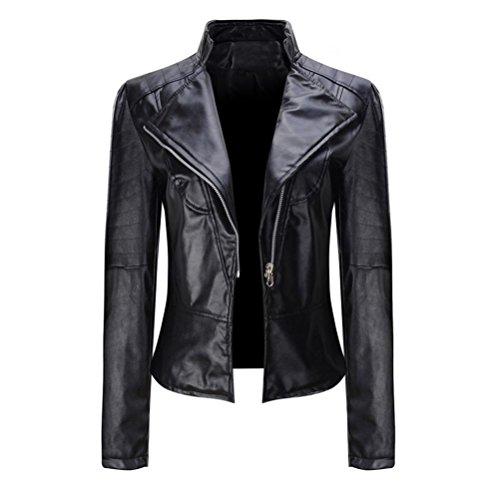 Price comparison product image Gotd Women Leather Short Coat Jacket Parka Zipper Tops Overcoat Outwear Autumn Spring Winter Plus Size (XL,  Black)