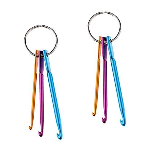 NATFUR 2 Set 3/4/5mm Key Chain Mini Aluminum Crochet Hook Knitting Needles Elegant Pretty Novelty Key-Chain for Women for Men Holder Perfect for Girls for Gift Elegant