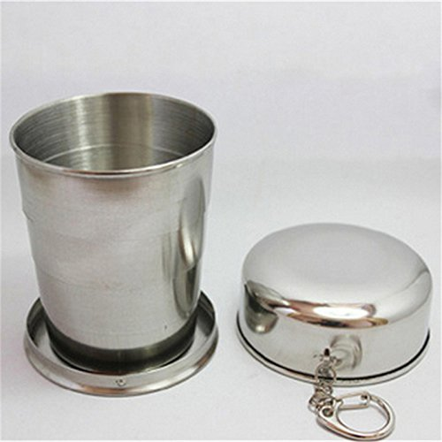 Stainless Steel Portable 250ml Mini Travel Retractable Cup Keychain Folding Collapsible Water Cup Coffee Mug