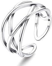 Sllaiss Sterling Silver Celtic Knot Rings for Women Minimalist Cross Line Open Rings Knuckle Rings Thumb Finge