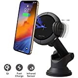 Wireless Charging Car Phone Holder with 15W Quick Charger, i-Star Auto Clamping Dashboard Phone Mount for Windshield Compatible with iPhone/Samsung Galaxy/HTC/Sony/Android Phone, 360° Rotation,Black