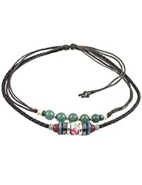 Ancient Tribe Adjustable Hemp Black Leather Beads Choker Necklace