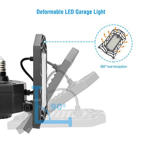 Led Garage Light, Vorida 8000LM E26/E27 Basement Deformable 80W Garage Lights, Led Garage Ceiling Light Fixture with 3 Adjustable Light Panels for Garage, Warehouse and Workshop(NO Motion Activated)