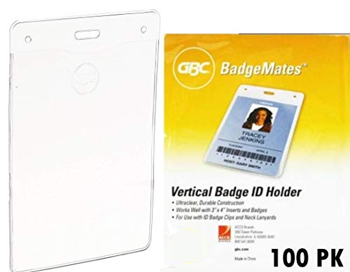 100 Pack GBC BadgeMates, Vertical Holders, 4 inch x 3 inch, Clear, Works Well with Lanyards and Clips (100 ()