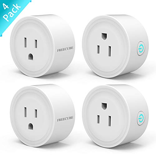 WiFi Plug Work with Alexa Echo/Google Home/IFTTT, Remote Control Smart Socket, Timer/no hub Required, 4 Pack (White)