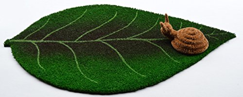 Coco Fiber Green Leaf Design Doormat with Mini Boot Scraper; 30 inch by 18 inch