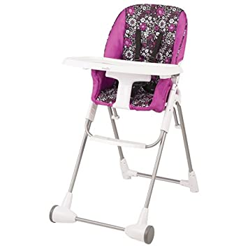 Evenflo Symmetry Flat Fold High Chair with Tray (Black/White/Pink, Marianna)