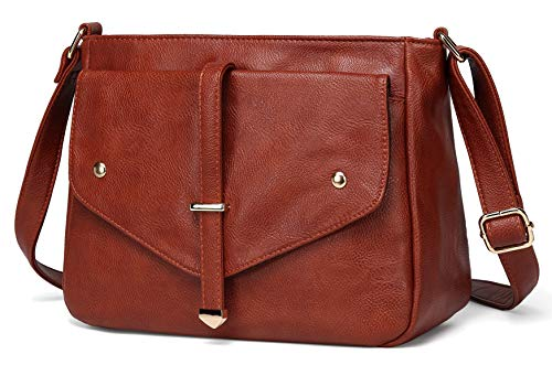 Crossbody Bags for Women,VASCHY Vegan Leather Fashion Handbag Purse Shoulder Bag Brown