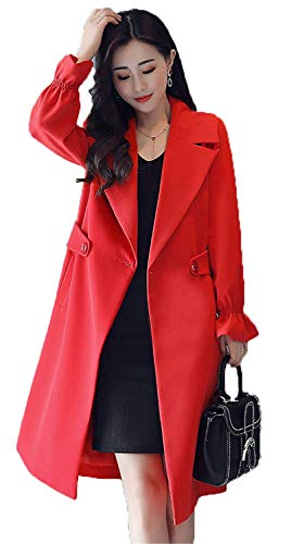 Fashion Trench Femme Manteau Slim Transition Manches Revers Fit Longues De Moderne Long rBrqnSx