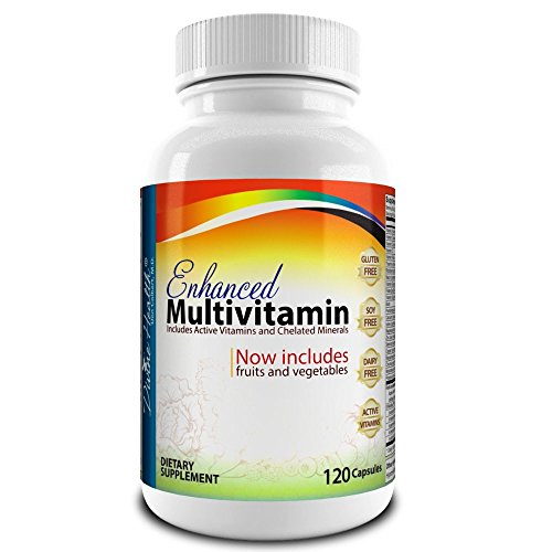 Medical Doctor Formulated Enhanced Multivitamin Plus Chelated Minerals – 120 Veggie Capsules – Active Vitamins – Fruits – Biotin – B Complex – Vegetables – MTHF – Mixed Tocotrienol & Tocopherol Mix