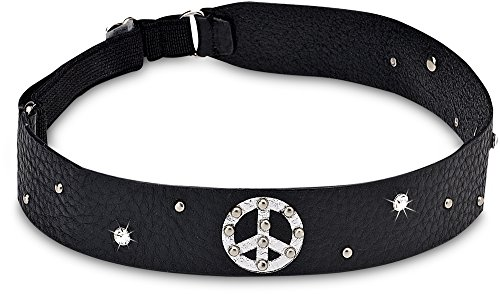 Black Leather Elastic Headband with Peace Sign & Gems