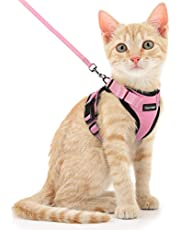 Dooradar Cat Harness and Leash Escape Proof for Walking, Adjustable Vest Harness for Small Medium Cats, Soft Breathable Easy Control Jacket with Reflective Strips & 1 Metal Leash Ring, Pink, XS