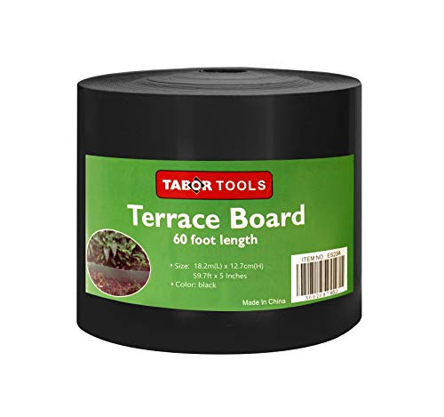 Terrace Board - TABOR TOOLS Terrace Board, Landscape Edging Coil, 1/25 Inch Thick, 5 Inch High. ES24. (60 Feet, Black)