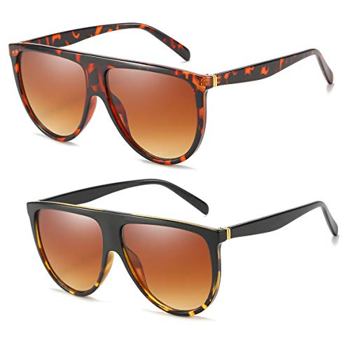 Oversized Sunglasses for Women Men Flat Top Square Frame Fashion Sunnies(Black ()
