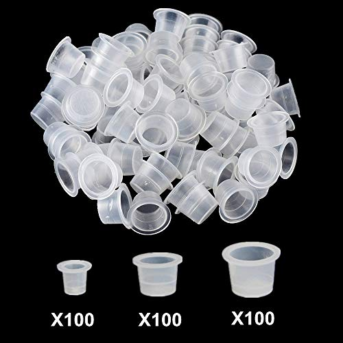 Tattoo Ink Caps - Autdor 300Pcs Tattoo Ink Cups Hot Sale White Plastic Disposable Microblading Makeup Tattoo Caps Mixed Sizes Pigment Cups #9 Small #13 Medium #16 Large for Tattooing, Tattoo ink