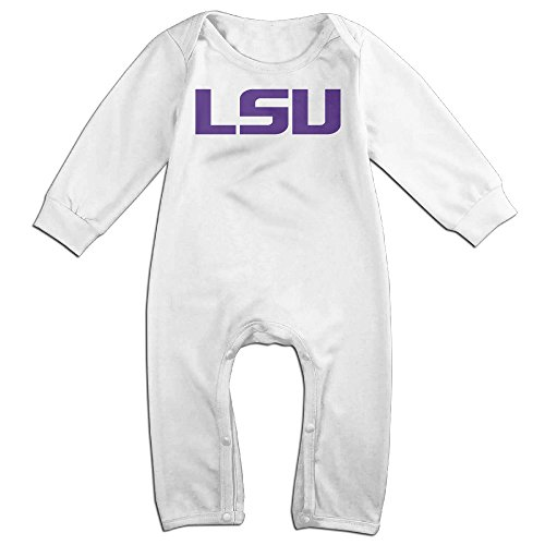[KIDDOS Baby Infant Romper Louisiana State University LSU Long Sleeve Jumpsuit Costume,White 6 M] (Lsu Mascot Costume)