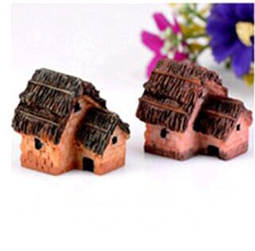 YRD TECH Mini Dollhouse Stone House Cottage Resin Decorations For Home And Garden DIY Mini Craft Cottage Landscape Decoration (D) (Disney Rear View Mirror Ornament)