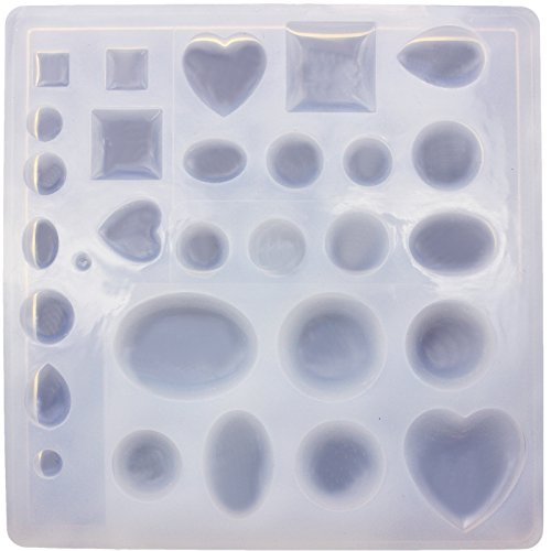 Funshowcase Cabochon Gem Jewelry Silicone Mold Oval Teardrop Square Heart Round Shapes, for Polymer Clay, Crafting, Resin Epoxy, Pendant Earrings Making, (Cabochon Gem)