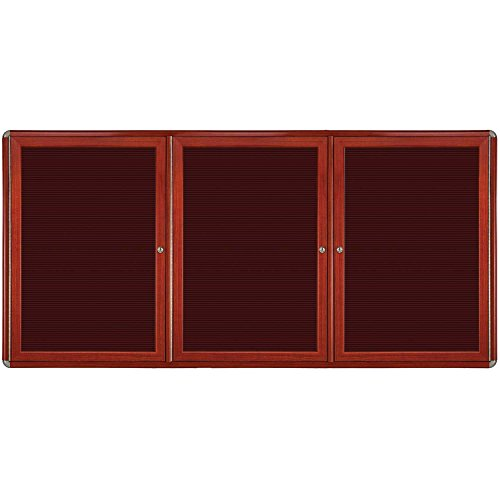 Ovation 3-Door Wood Look Felt Letter Board, 4' H x 6' W Surface Color: Burgundy, Color: Chrome, Frame Finish: Cherry by Ghent