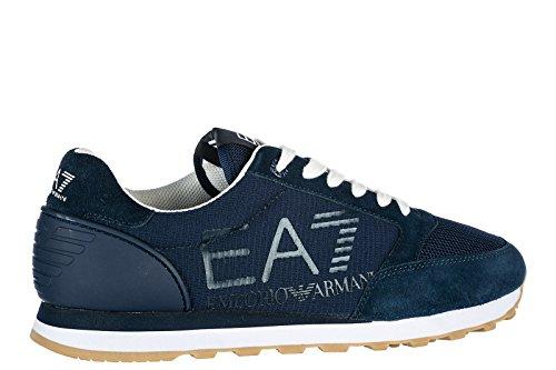 Emporio Armani EA7 scarpe sneakers uomo camoscio nuove Heritage blu Blu