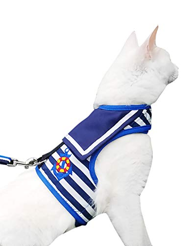 Yizhi Miaow Escape Proof Cat Harness with Leash Large, Adjustable Cat Walking Jackets, Padded Cat Vest Sailor Suit Navy