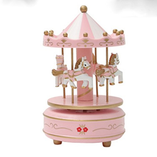 Musical Horses Carousel - OKOK Vintage Pink Wooden Merry-Go-Round Horse Christmas Birthday Gift Carousel Music Box, Clockwork Mechanism Laxury Carousel Music Box