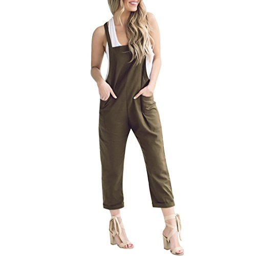 Army Bib - TAORE Long sleeve Women Loose Casual Baggy Jumpsuit Strap Bib Pants Trousers Overall Harnes Pants (X-Large(US12), Army Green)