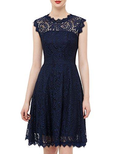DRESSTELLS DresstellsWomen's Elegant Open Back Lace Cocktail Dress for Special Occasions Navy S -