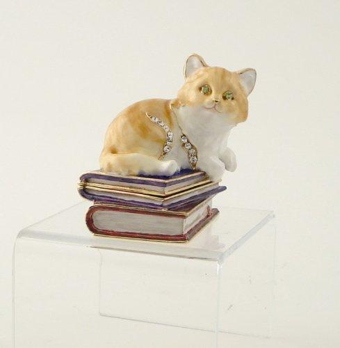 Enamel and Jeweled Kitten on Books Jewelry/Trinket Box (Jeweled Treasure Box)